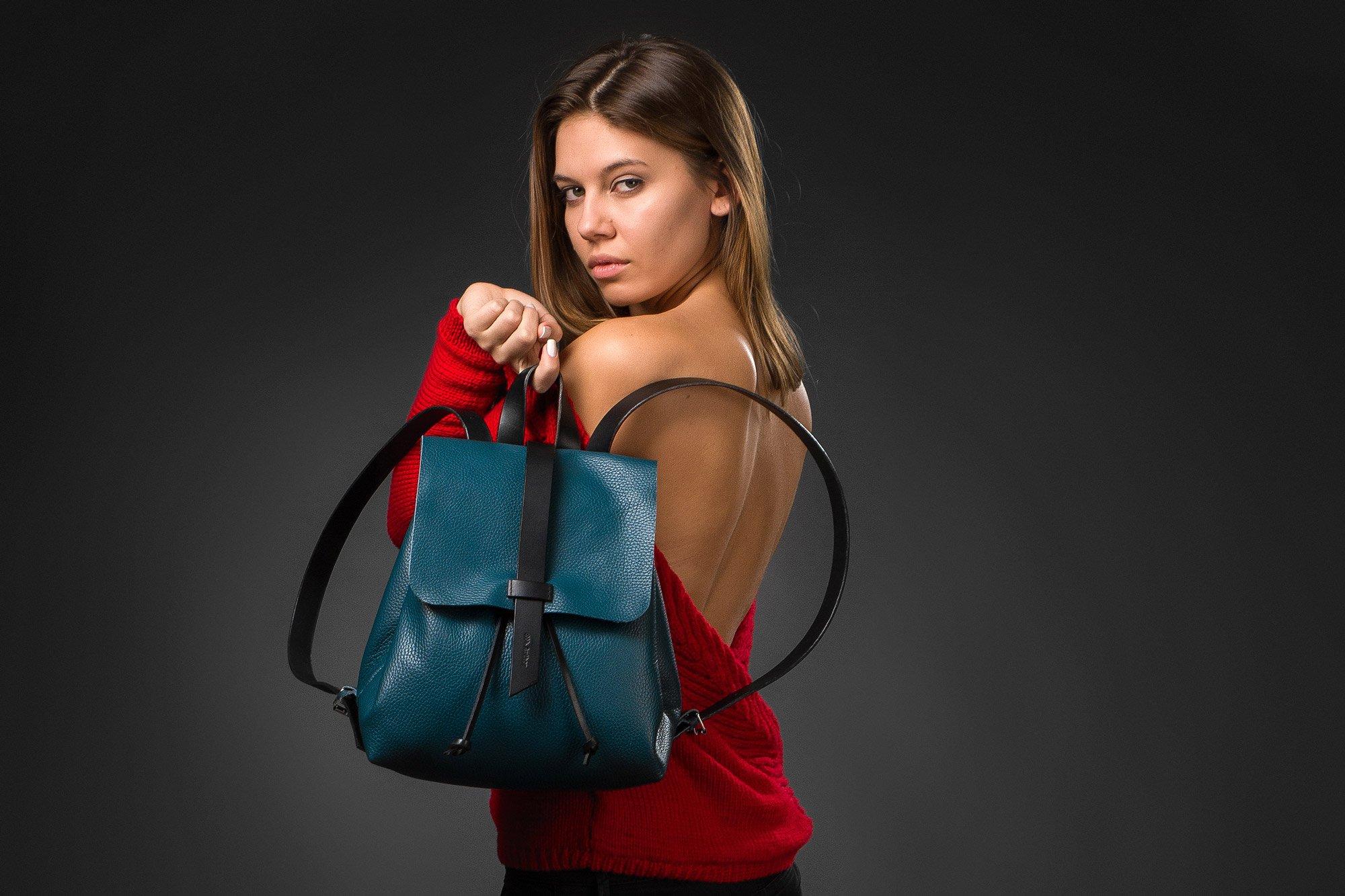 Leather Mini backpack, blue leather backpack, Leather Tote bag, blue women bag, woman small backpack, handmade backpack, womens backpack