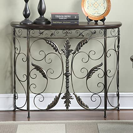 Accent Console Table, Metal Leaf Detail With Wooden Table Top, Durable And  Versatile,