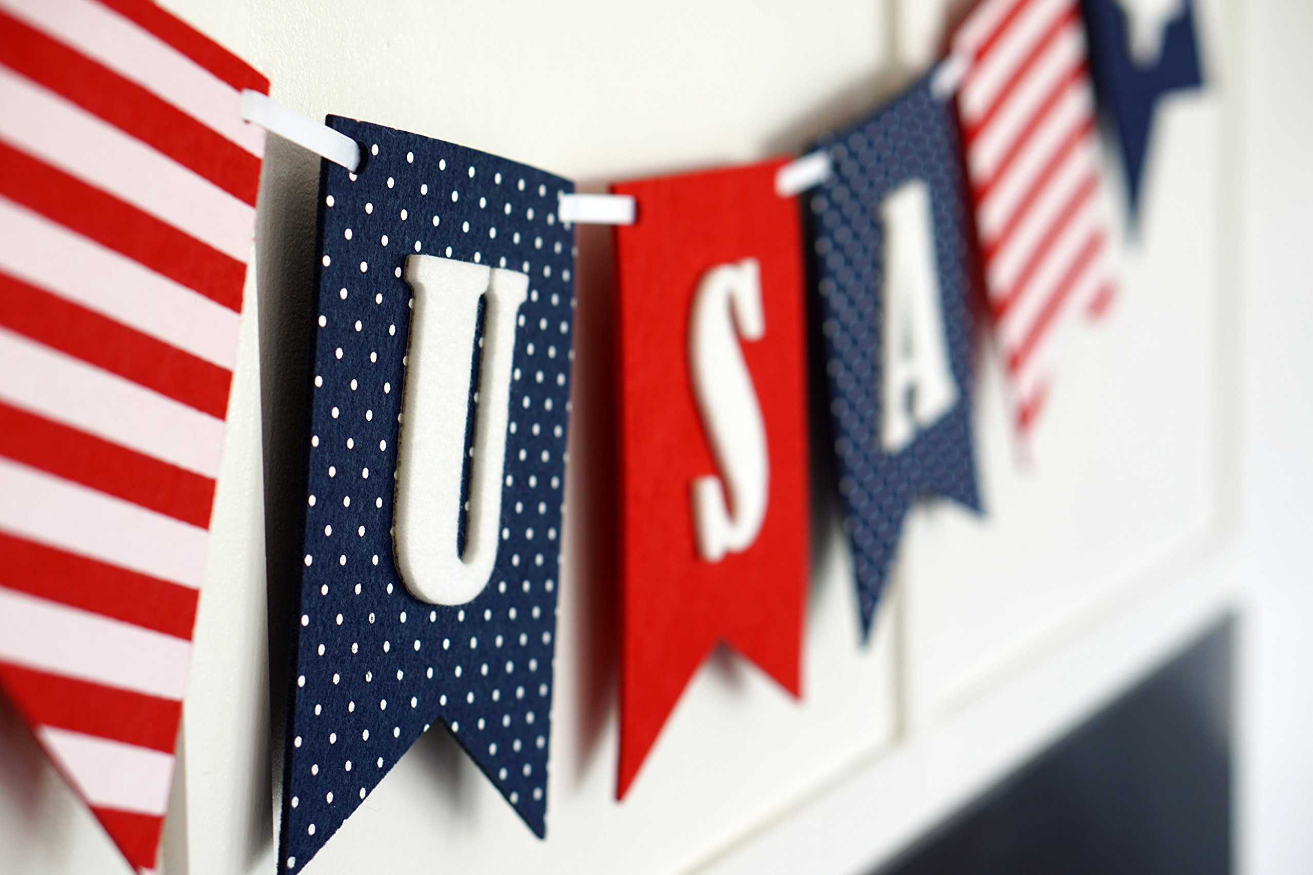 USA Banner Bunting Laser Cut Felt 40 inches wide - Patriotic Americana Red, White, & Blue America! by Decomod (Image #6)