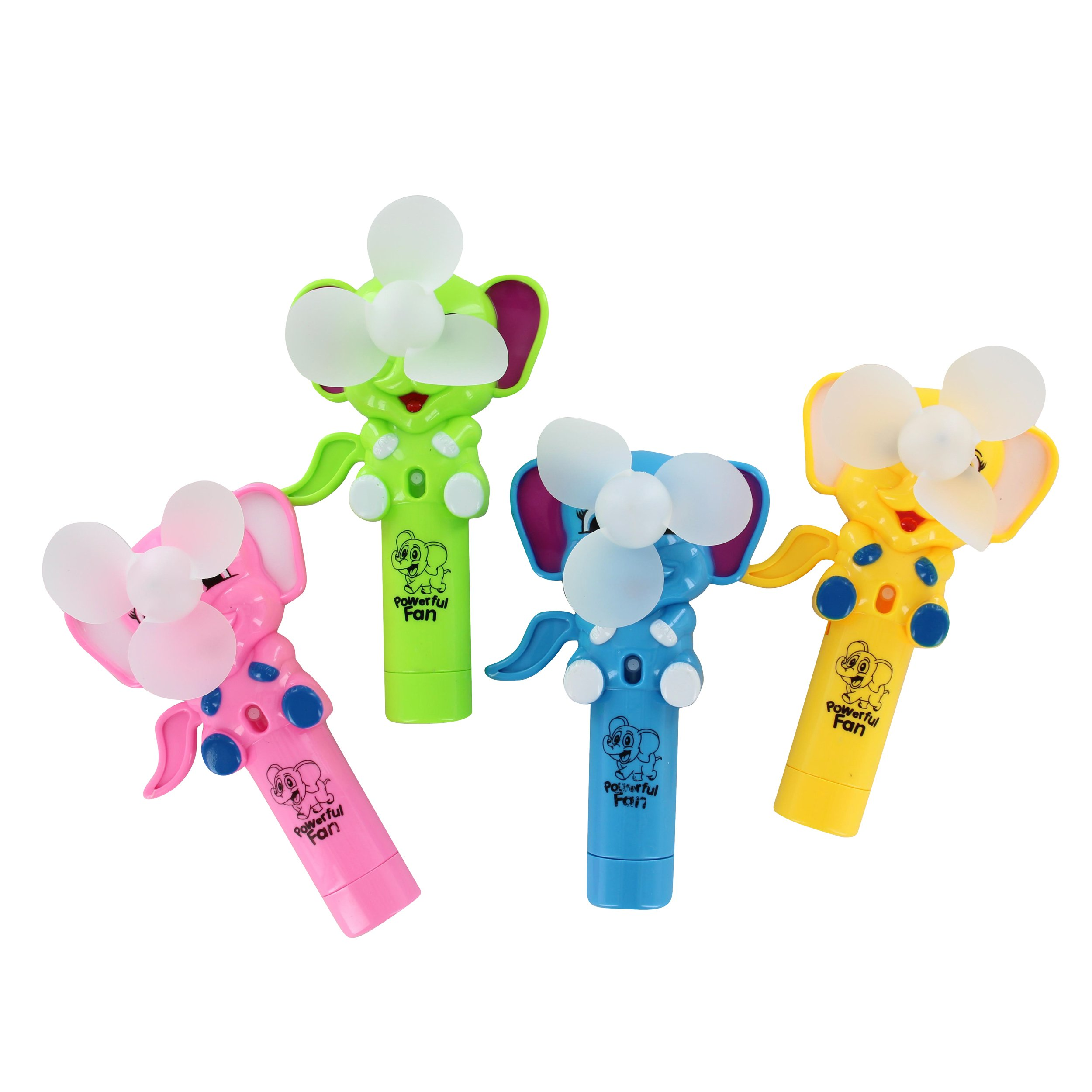 QuStars Valued Pack 3 Portable Hand Press Cooling Cartoon Animal Mini Toy Hand-held Fan (Elephant)