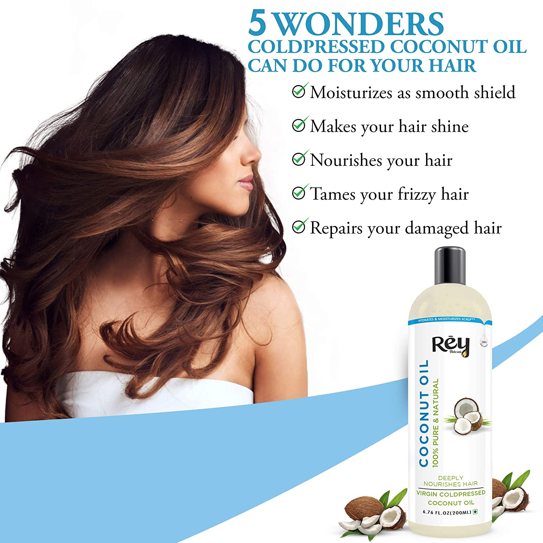 Rey Naturals Cold-Pressed, 100% Pure Castor Oil & Coconut Oil