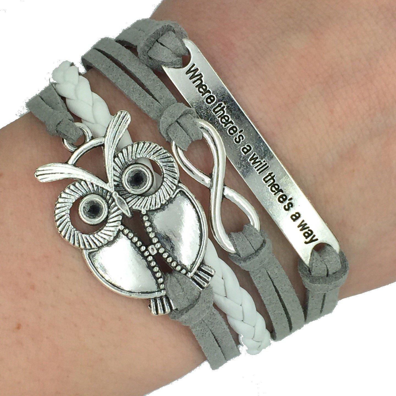 Trendy Women Infinity Owl Friendship Antique Leather Cute Charm Bracelet Gift including gift box Boolavard® TM G5-TGIO-UBQB-CA