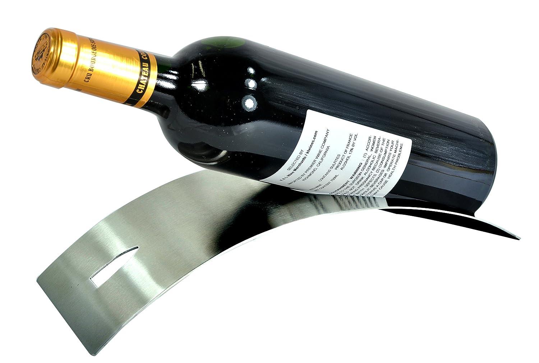 Com Sleek Modern Contemporary Brushed Stainless Steel Tabletop Single Bottle Serving Display Wine Rack Mygift Home Kitchen