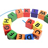 Jumbo Wood Alphabet Lacing Beads Busy Bag - Perfect Fine Motor Learning Activity for Toddlers and Preschoolers. Sort By Shape and Color, Large Beads