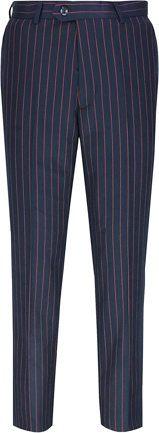 Mens 3 Piece Double Breasted Suit Vintage Chalk Stripe Smart Classic Pinstipes Tailored Fit