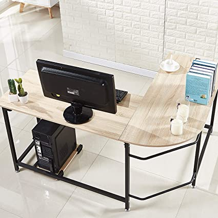 Charmant Hago Modern L Shaped Desk Corner Computer Desk Home Office Study  Workstation Wood U0026 Steel