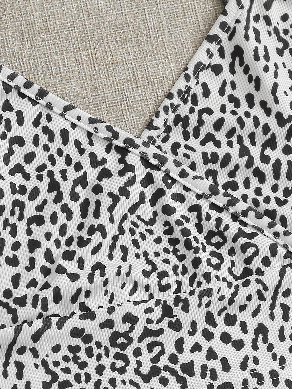 SweatyRocks Womens Casual Leopard Print Warp Surplice Front Spaghetti Strap Cami Top