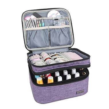 Luxja Nail Polish Carrying Case - Holds 20 Bottles (15ml - 0.5 fl.oz) or 30 Bottles (7ml - 0.27 fl.oz), Portable Organizer Bag for Nail Polish and Manicure Set, Purple