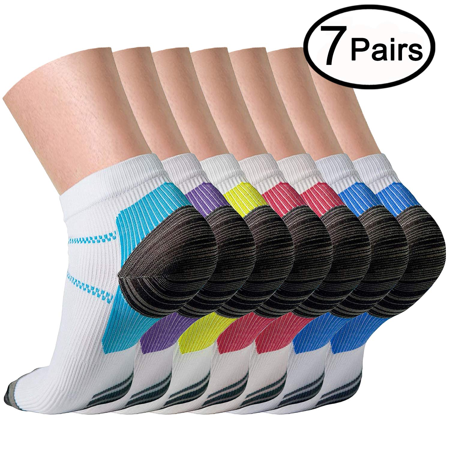 Compression Socks (7 Pairs) for Women and Men Sport Plantar Fasciitis Arch Support Low Cut Running Gym Compression Foot Socks/Foot (Small/Medium)