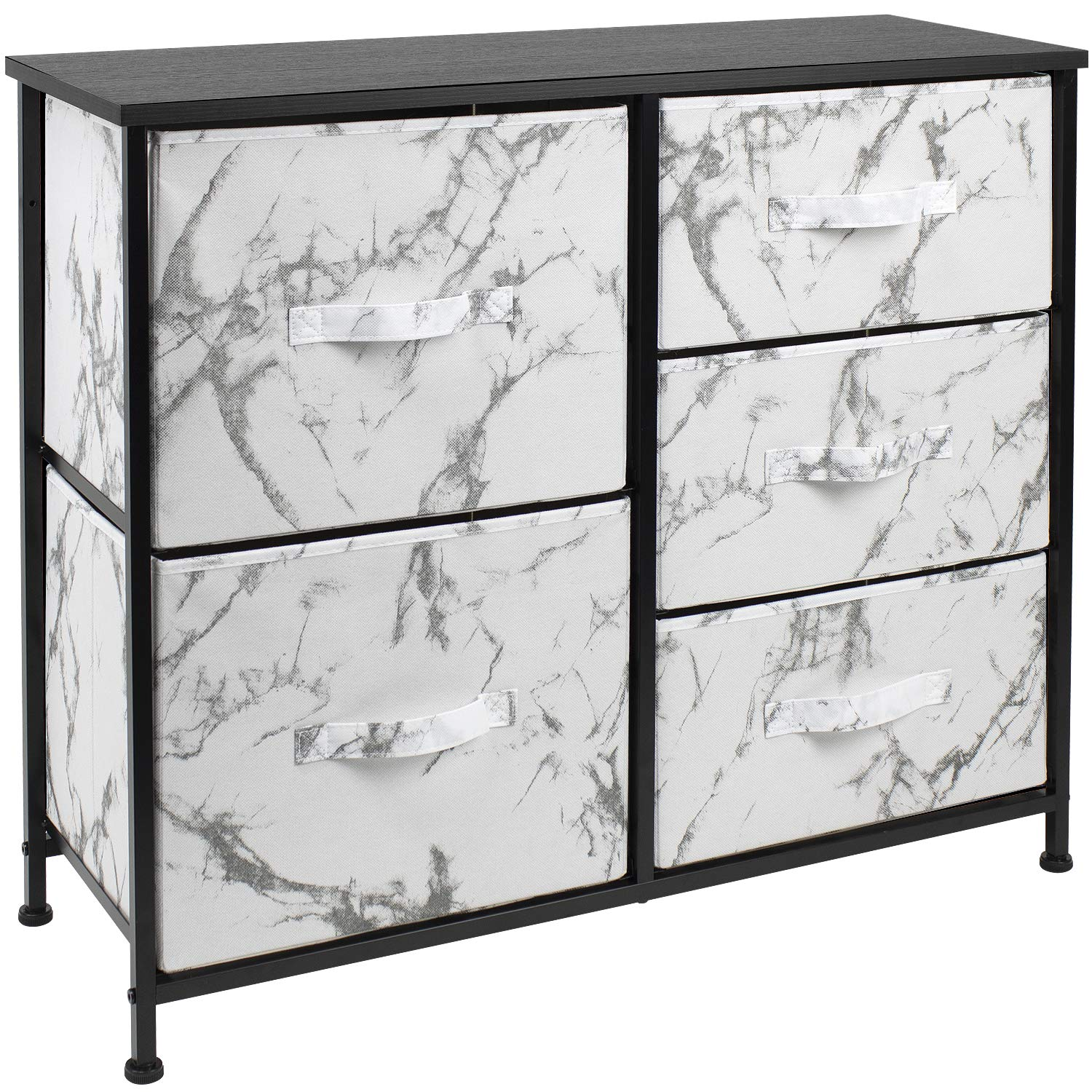 Sorbus Dresser with 5 Drawers - Furniture Storage Tower Unit for Bedroom, Hallway, Closet, Office Organization - Steel Frame, Wood Top, Fabric Bins (5-Drawer Dresser Chest, Marble White – Black Frame)