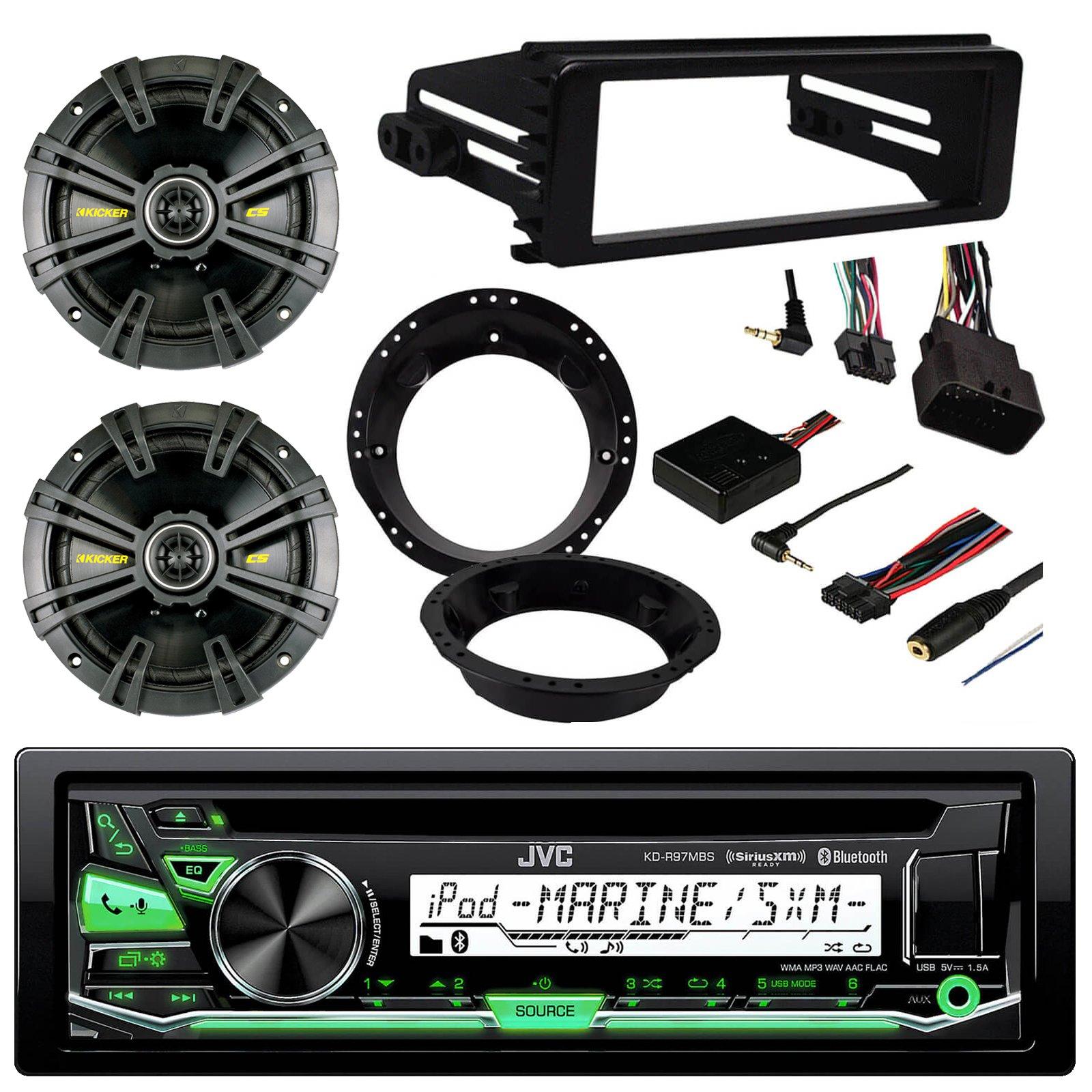 JVC KD-R97MBS CD MP3 Bluetooth Marine Outdoor Radio Receiver, 2 x Kicker 40CS674 6-3/4'' 600 Watt Black Car Speakers, Metra Mounting Ring, Metra Stereo Cover, Metra Steering Wheel Control Interface