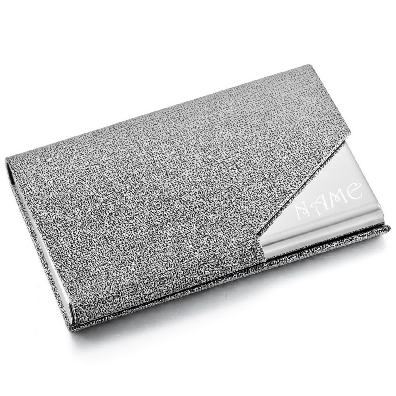 Customized Engraving MeMeDIY Silver Tone Stainless Steel Leather Card Case Business Card Holder