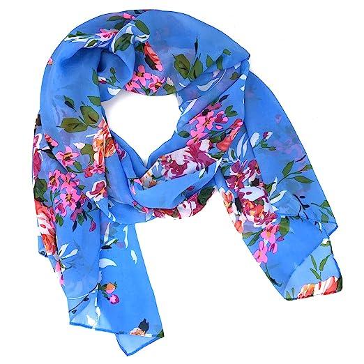 9ed8bfad4 Fashionable Floral Print Soft Chiffon Scarf - Blue at Amazon Women's ...