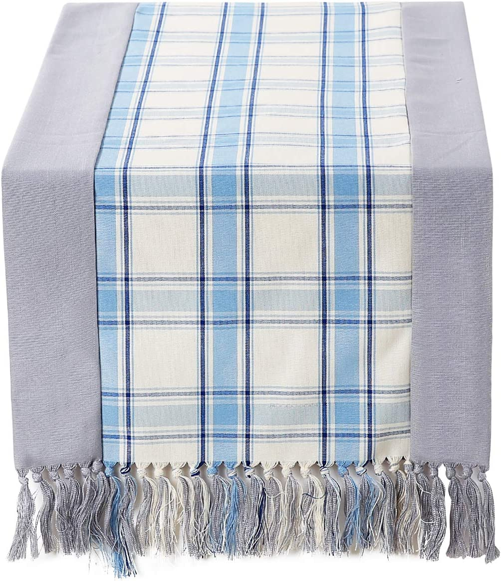 15 x 72 inch Rustic Woven Table Runner with Handmade Fringe Buffalo Checks Burlap Dining Table Runners for Family Dinner Farmhouse Decorations Beige Plaid