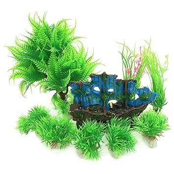 PietyPet Adornos para Acuario, 9 Plantas Verdes de Acuario de Plástico y Barco Adornos Cueva