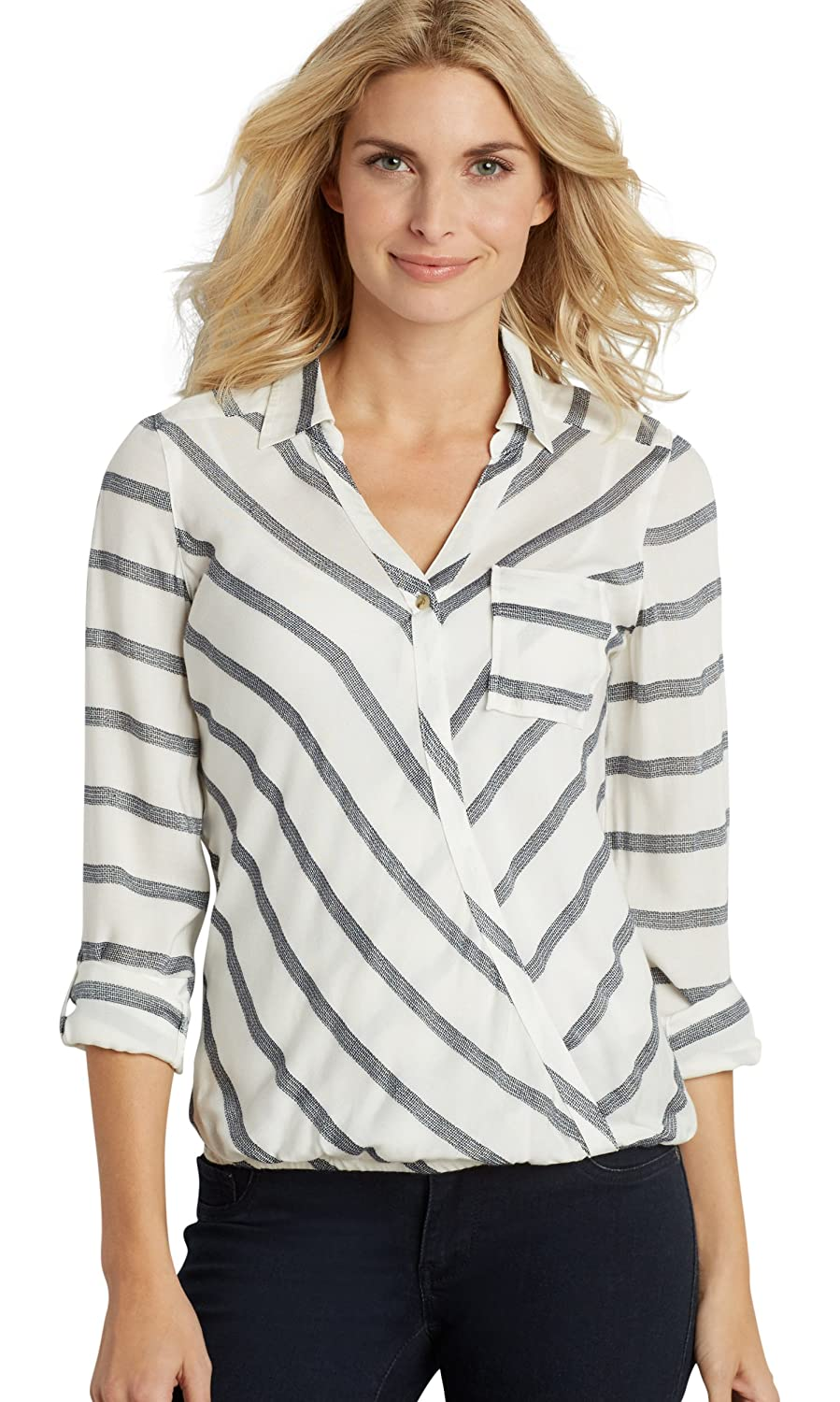 Maurices Women's Striped Surplice Top With Elastic Banded Bottom Hem