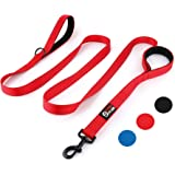 Primal Pet Gear Dog Leash 8ft Long - RED - Traffic Padded Two Handle - Heavy Duty - Double Handles Lead for Control…