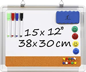Whiteboard Bulletin Board Set - Dry Erase/Cork Board 15 x 12 in + 1 Magnetic Eraser, 4 Dry Wipe Markers, 4 Magnets and 10 Pins - Small Wall Hanging Notice White Tack Board for Home and Office
