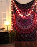 Pink & Purple Mandala Indian Peacock Tapestry, Hippie Wall Hanging, Bohemian Bedspread, Mandala Cotton Dorm Decor Beach Blanket