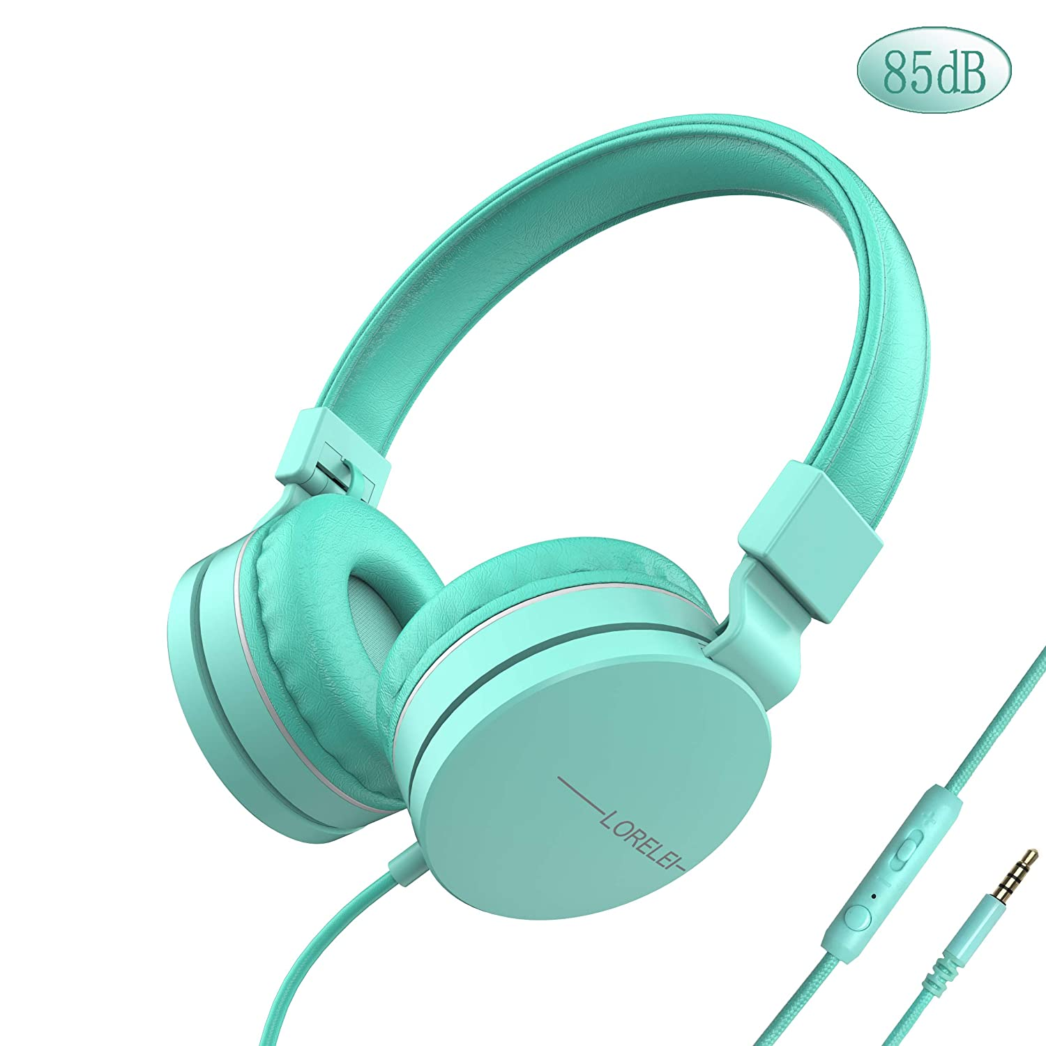 LORELEI L-01 Wied Kids Headphones Children Girls Boys Teens 85DB Volume Limiting with Mic and 3.5mm Socket Compatible Cellphone ipad comptuer MP3/4 (Mint Green)