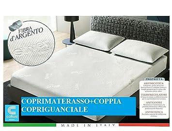 Colchón de Matrimonio Silver + Par copriguanciale Silver - de Tela Fibra D Plata - antistatico-antimicotico-antiodore-termoregolatore - Producto de Italia: ...