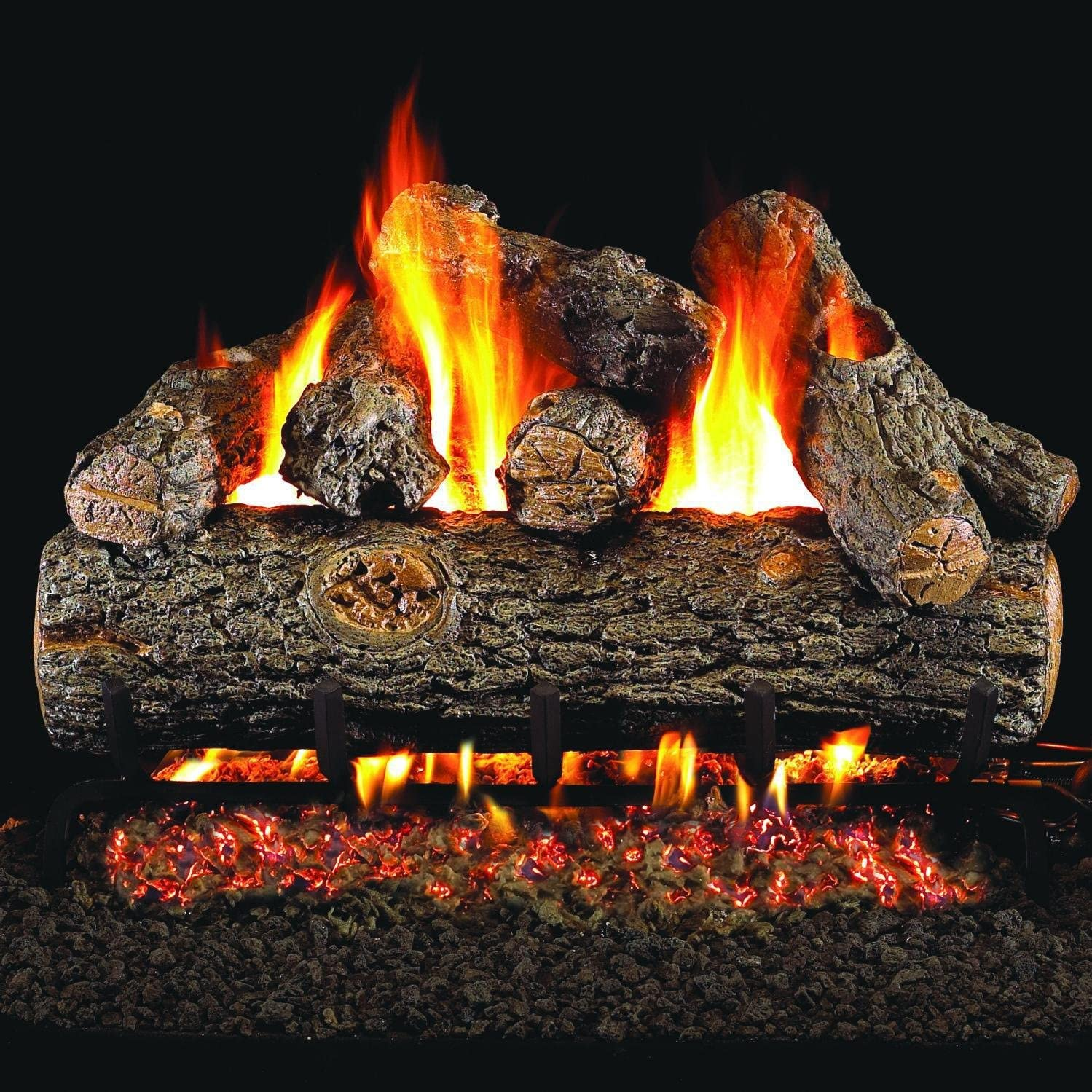 B001OU7TQI Peterson Real Fyre 24-Inch Golden Oak Designer Plus Gas Log Set with Vented Natural Gas G45 Burner - Manual Safety Pilot 81G-e8EkegL.SL1499_