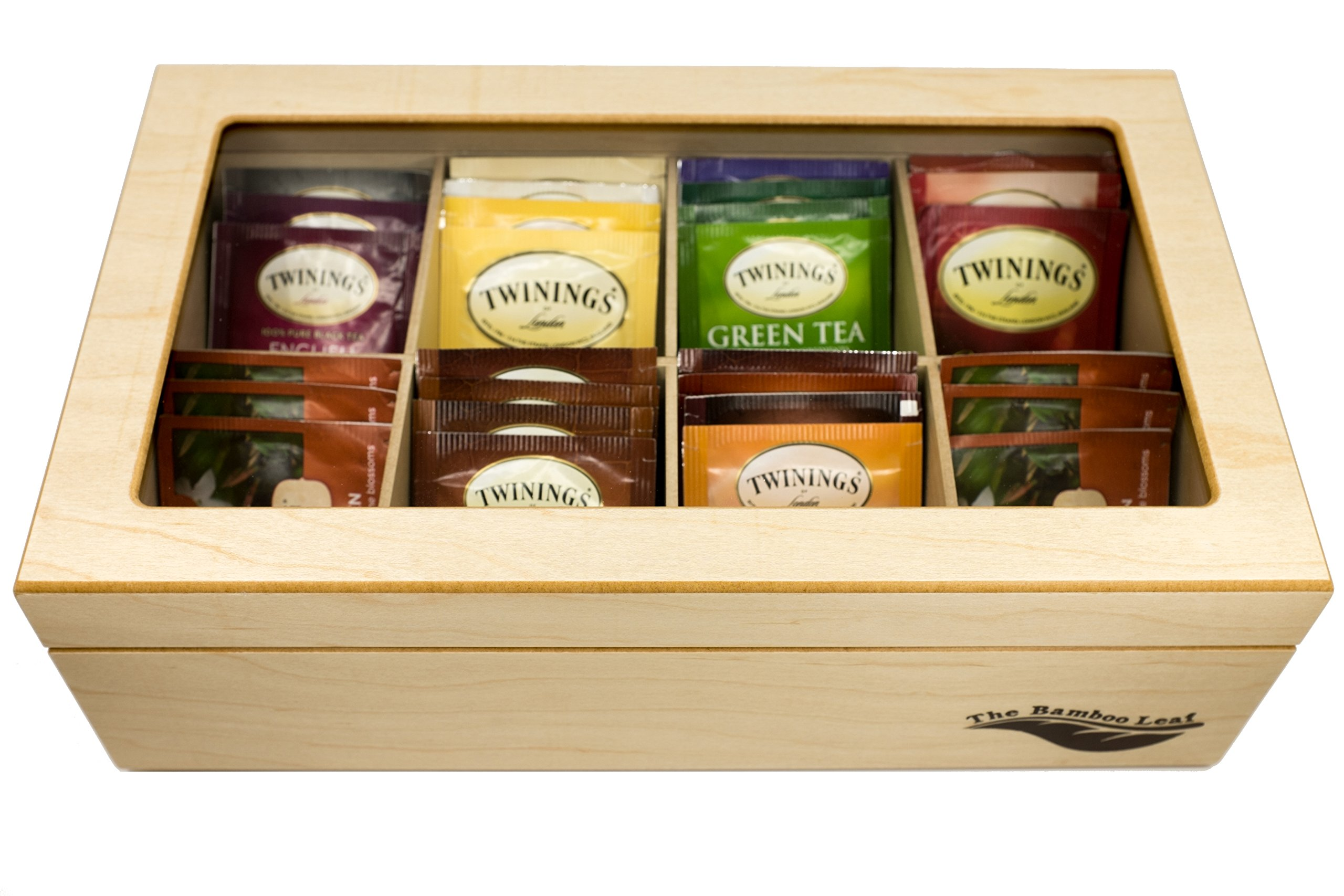 The Bamboo Leaf Luxury Wooden Tea BoxStorage Chest, 8 Compartments w/Glass Window (Natural) by The Bamboo Leaf (Image #3)