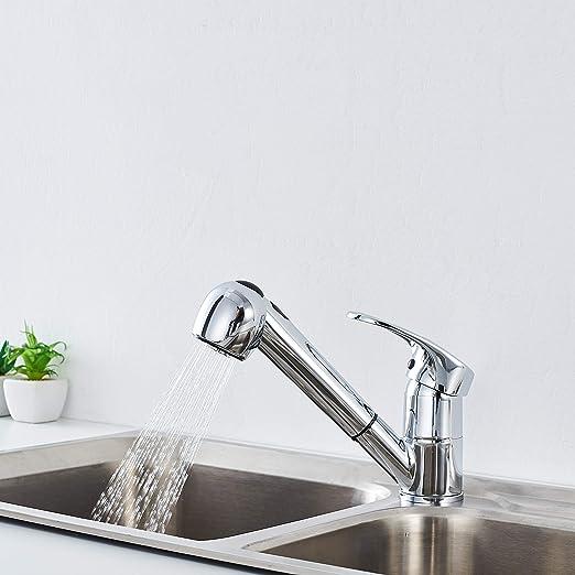 Auralum - Grifo Cocina 2 Vías con Ducha Extraíble Grifos de Fregadero Latón Cromado Mezclador de Cocina para Agua Caliente y Fría