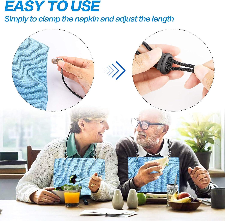 Haiker Pack of 4 Pcs Adjustable Napkin Clip Lanyard Neck Strap for Elderly//Adult//Baby