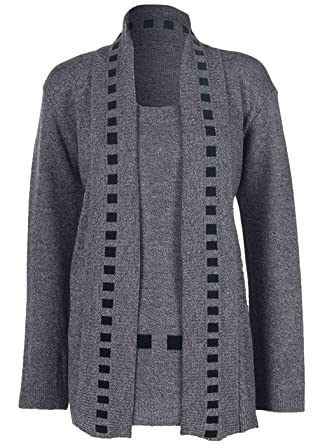 04c253ed99 Love My Fashions® Womens Jumper Ladies Twin Set Knitted Cardigan Open  Chunky Knit Long Sleeve Casual Top Warm Shirt Sizes S M L XL  Amazon.co.uk   Clothing