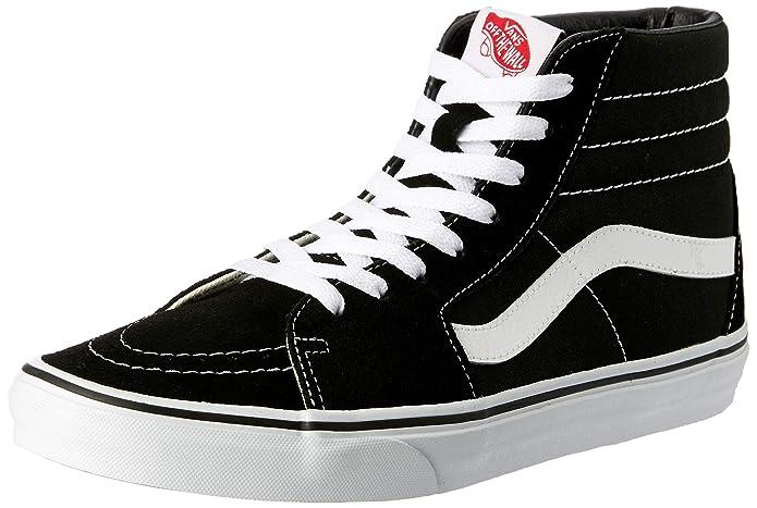 Vans Sk8-Hi High Top Sneaker Damen Herren Kinder Unisex Schwarz mit weißen Streifen