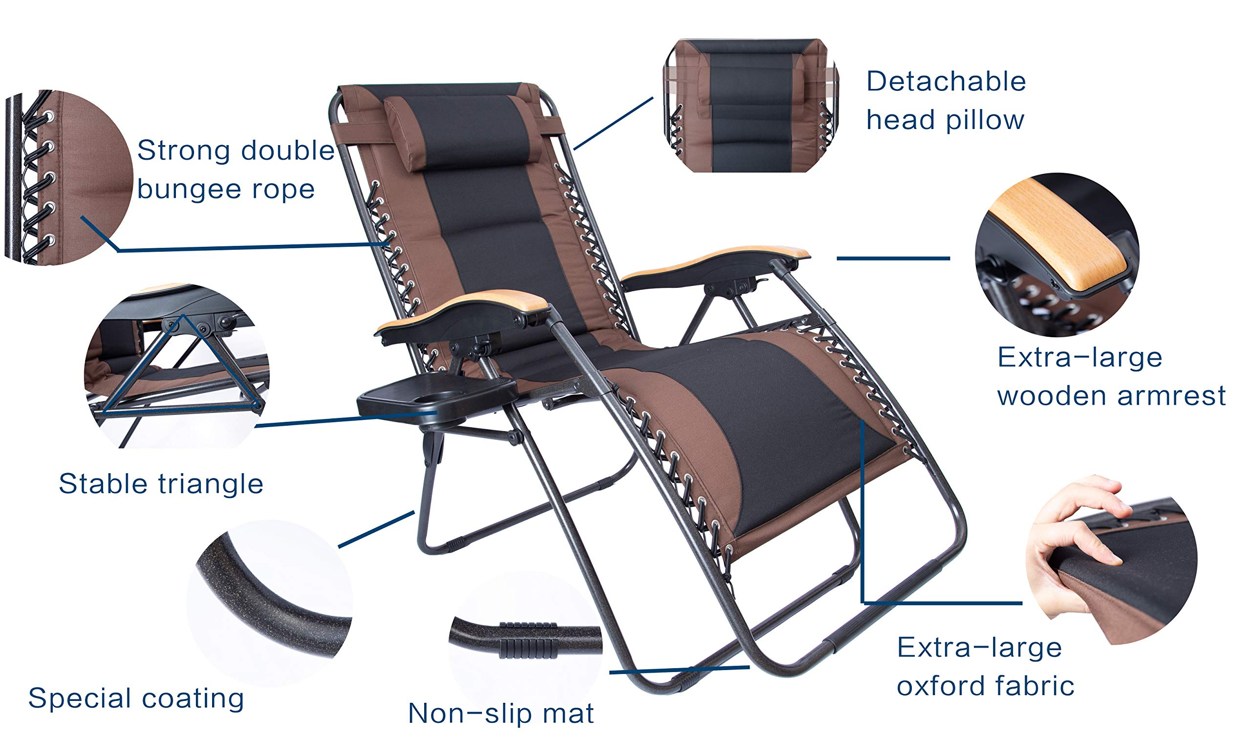 LUCKYBERRY Deluxe Oversized Padded Zero Gravity Chair XL Black Brown Cup Holder Lounge Patio Chairs Outdoor Yard Beach Support 350lbs by LUCKYBERRY (Image #5)