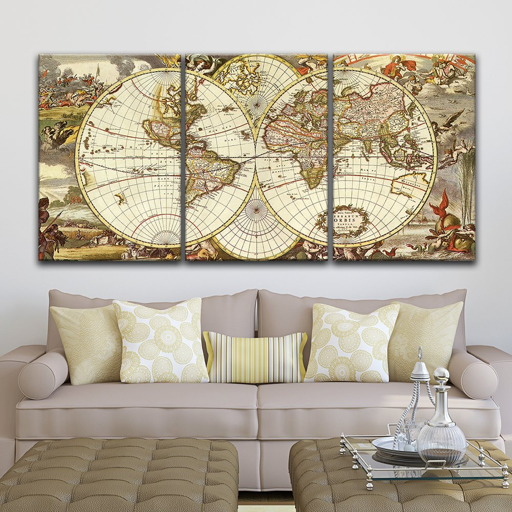 "wall26 - 3 Panel Canvas Wall Art - Vintage World Map - Giclee Print Gallery Wrap Modern Home Decor Ready to Hang - 16""x24"" x 3 Panels"