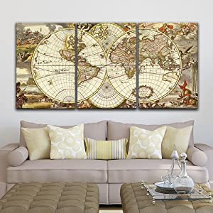 """wall26 - 3 Panel Canvas Wall Art - Vintage World Map - Giclee Print Gallery Wrap Modern Home Decor Ready to Hang - 16""""x24"""" x 3 Panels"""