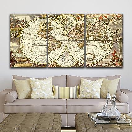 3 Piece Canvas World Map.Amazon Com Wall26 3 Panel Canvas Wall Art Vintage World Map