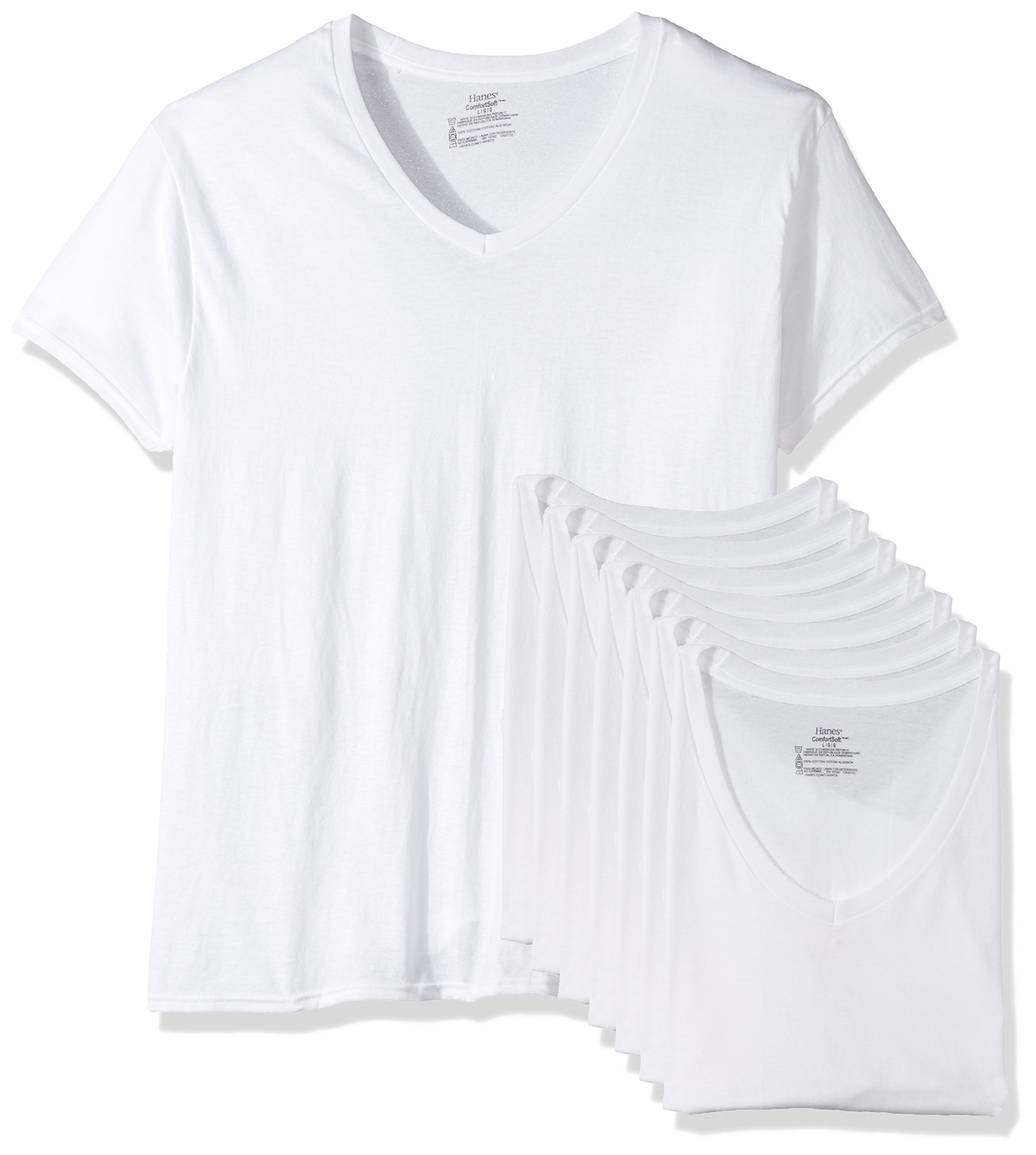 Hanes Men's 7-Pack Comfortsoft Tagless V-Neck T-Shirt (Bonus Pack), White, Meduim by Hanes
