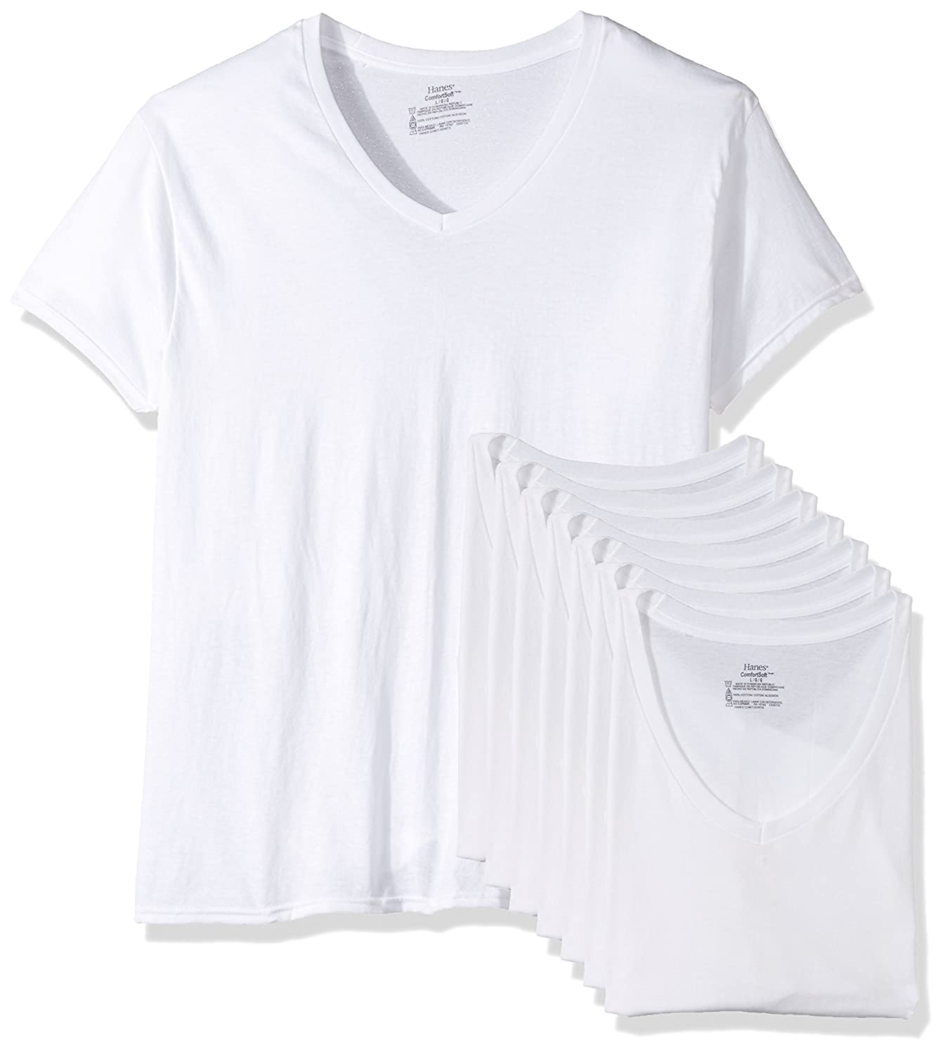 f8a701f6e3 Hanes Men's 7 Pack Comfortsoft Tagless V-Neck T-Shirt (Bonus Pack) at  Amazon Men's Clothing store: