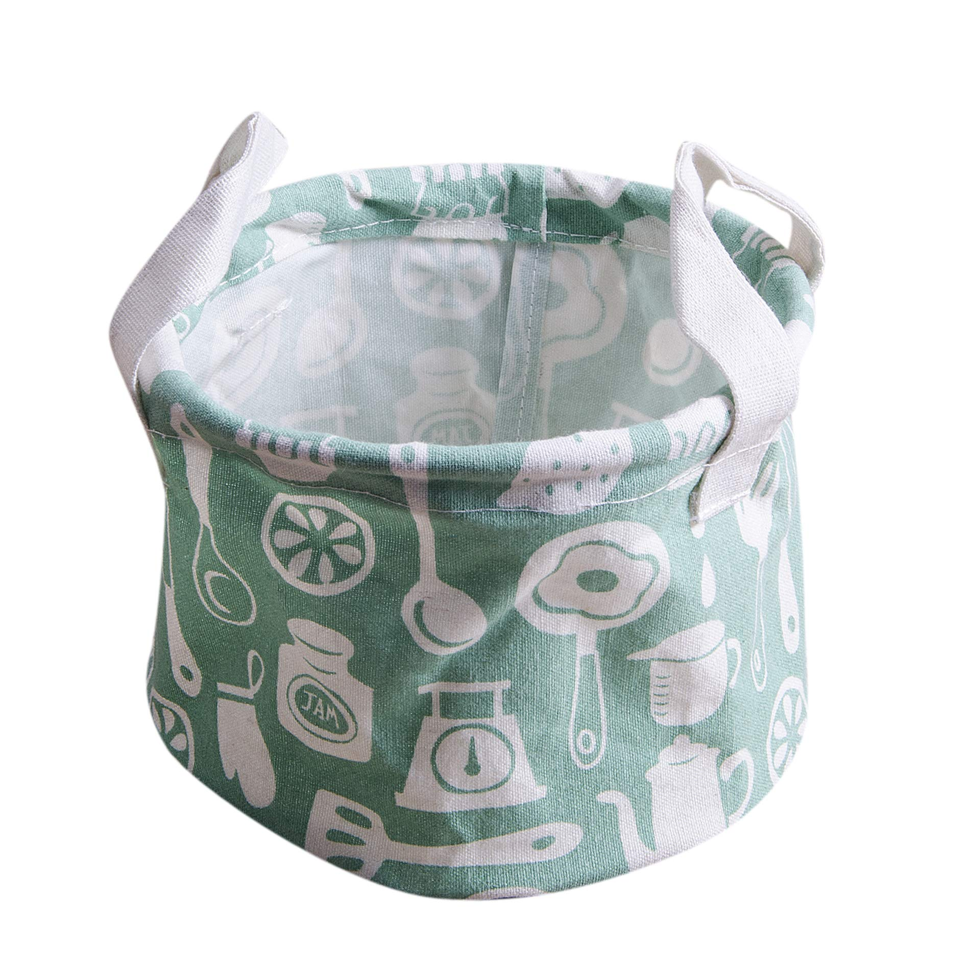 KMSUNME Fabric Collection Basket Storage Bowl Plaid Printing Animal Pattern Waterproof Hamper Storage Basket (Green, 1418cm.)