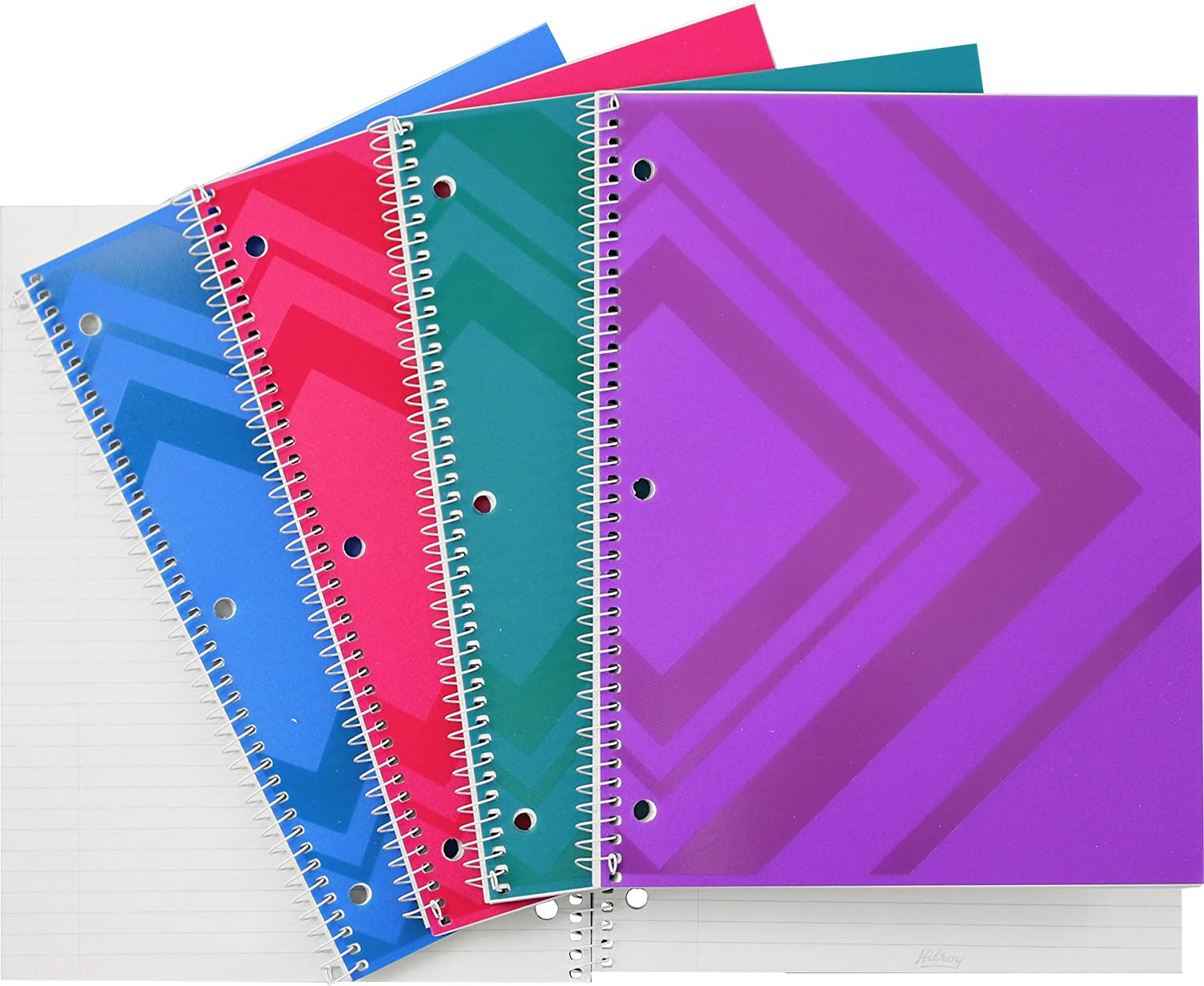 Hilroy 66182 Geometric-Patterned Poly Notebooks, College Ruled, 10-1/2x8-Inch, 100-Sheets/200-Pages, Assorted Colors