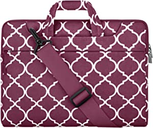MOSISO Laptop Shoulder Bag Compatible with 13-13.3 inch MacBook Pro, MacBook Air, Notebook Computer, Canvas Carrying Briefcase Sleeve Case Quatrefoil MO-QAF002