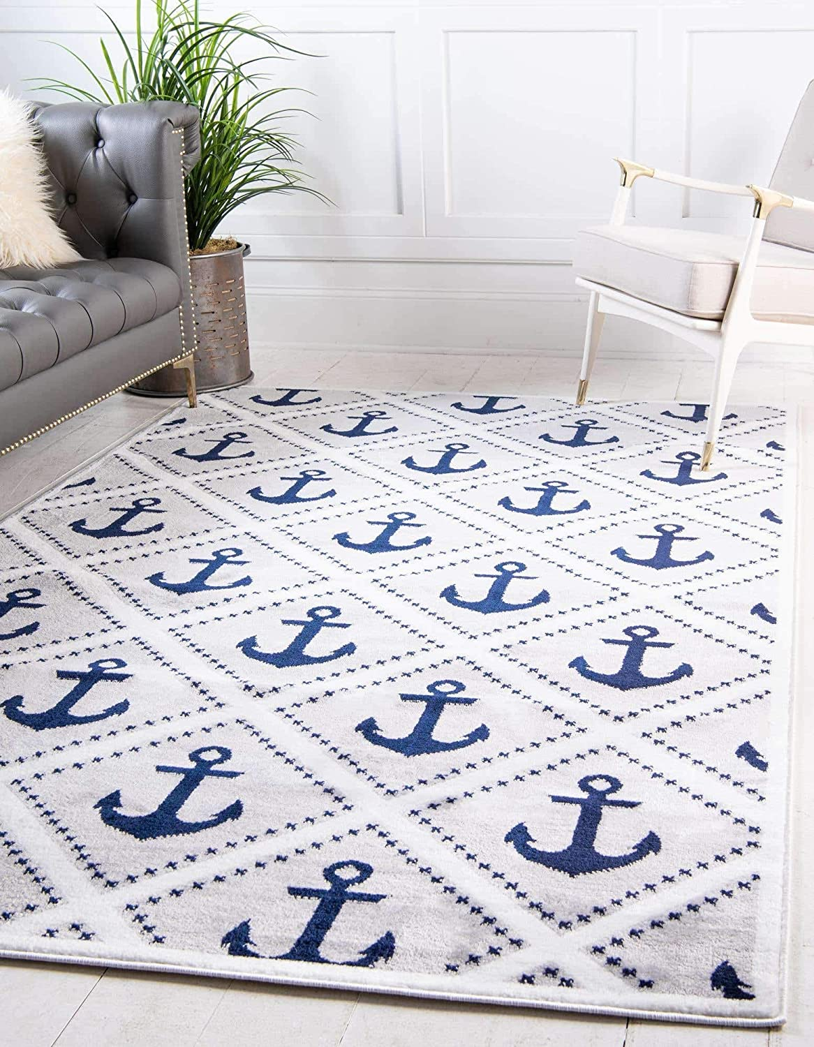Amazon Com Unique Loom Metro Collection Modern Nautical Geometric Anchor Gray Area Rug 8 0 X 10 0 Furniture Decor
