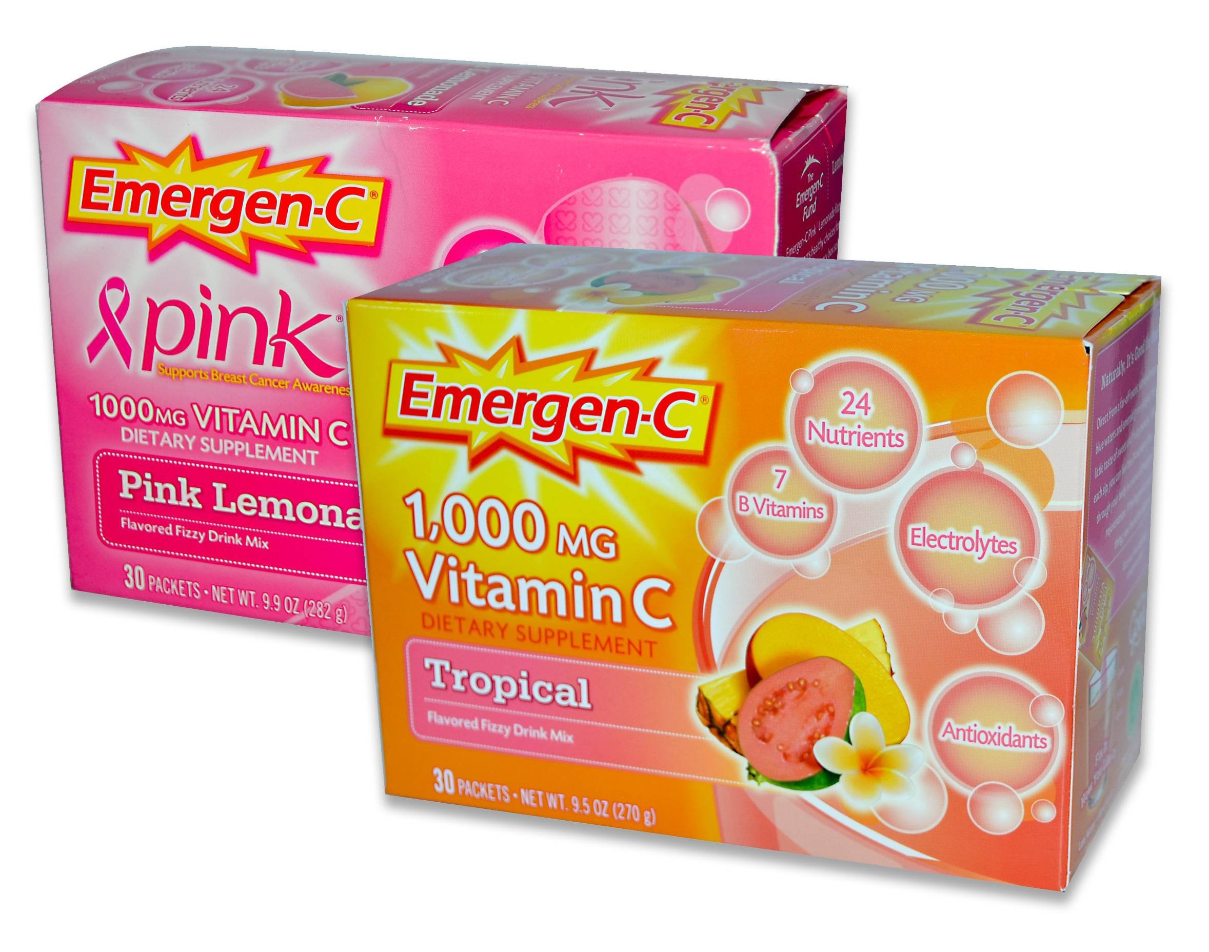 EmergenC, Pink Lemonaide/Tropical, 30 Packets (Pack of 2)