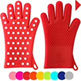 Finally! Heavy-Duty Women's Silicone Oven Mitts by Love This Kitchen | 2 Sizes Available in 9 Colors | Heat Resistant Gloves For Her Cooking, Baking & Barbecue Needs (1 Pair, Size: M/L, Coral Red)