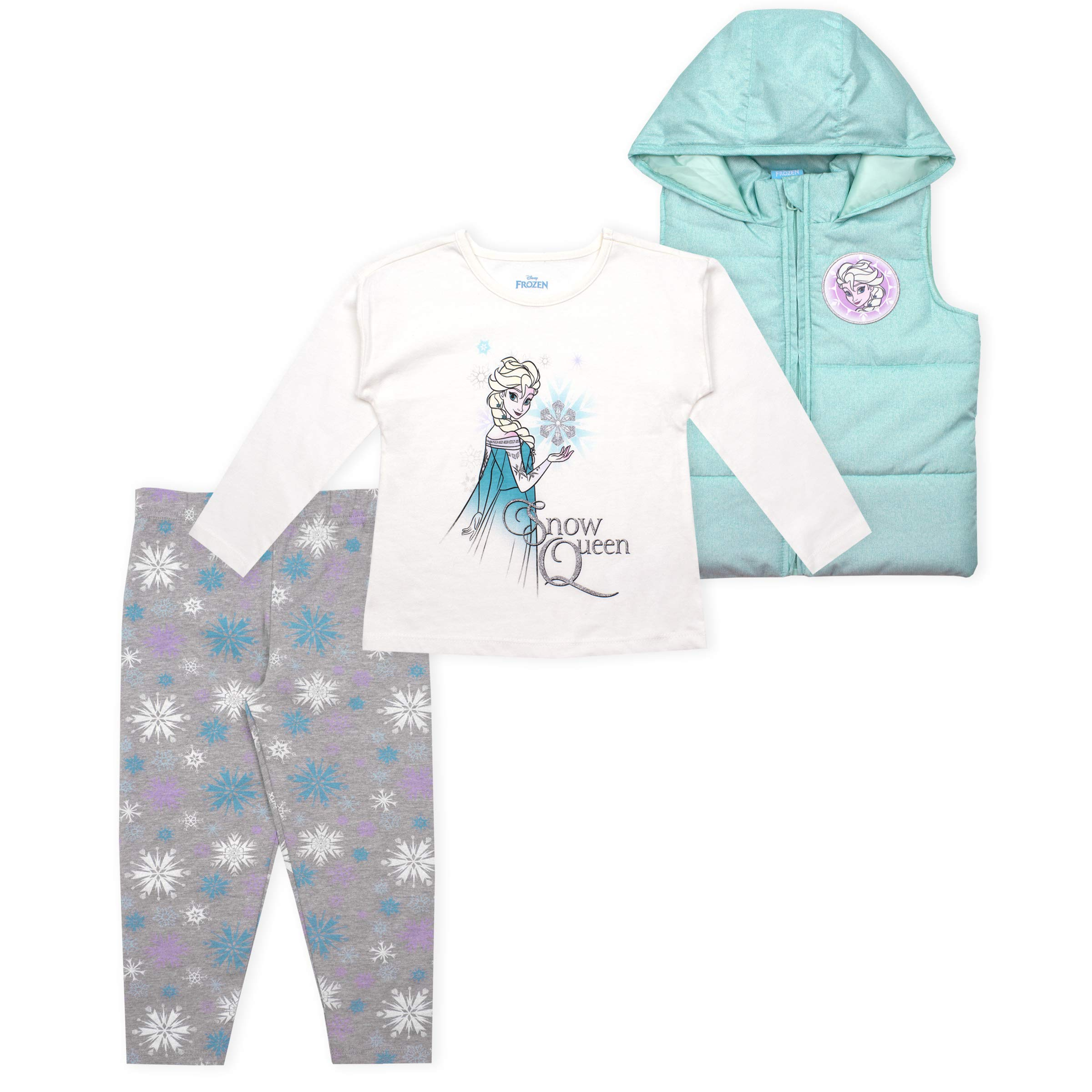 Disney 3-Piece Frozen Leggings Set for Girls with Elsa Shirt and Vest Purple by Disney
