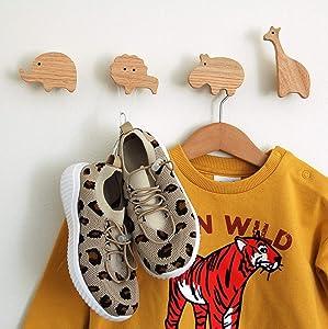 Kids Coat Hooks For Hanging Backpack Coat, Hat Bedroom Or Nursery - Wooden African Safari Animal Theme Decor - Set of (4) Natural Oak Wood Cute Elephant Lion Giraffe & Hippo Hangers For Boys & Girls.