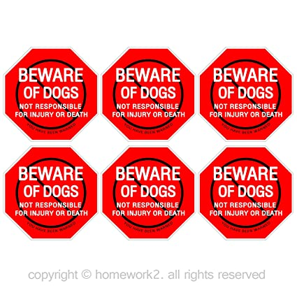 Beware of dog sign stickers for home and business vinyl decals uv protected
