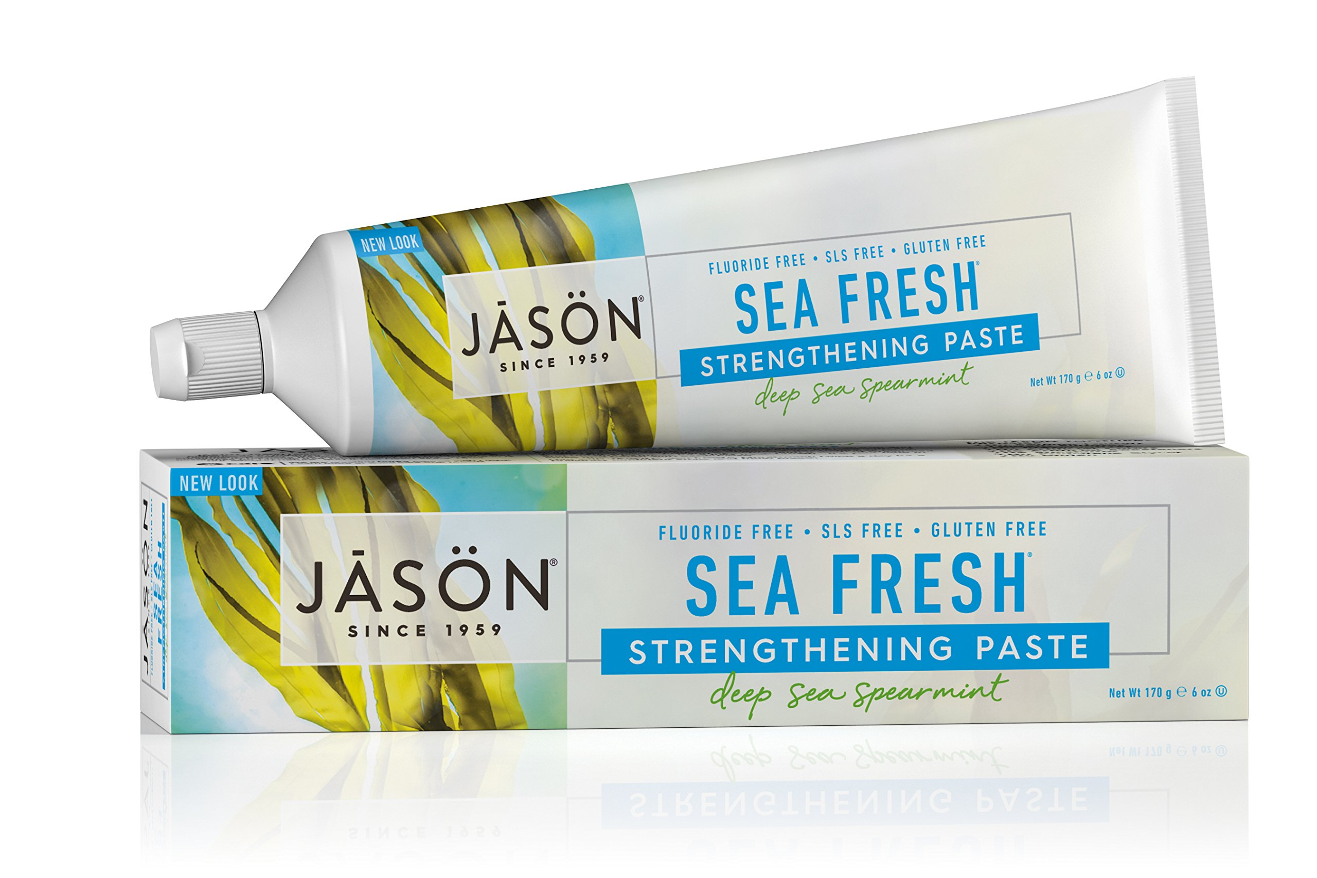JASON Sea Fresh Strengthening Fluoride-Free Toothpaste, Deep Sea Spearmint, 6 oz. (Packaging May Vary)