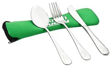 CampBuddy Cubertería de acero inoxidable, cuchara, tenedor y cuchillo, 240 mm, verde: Amazon.es: Deportes y aire libre