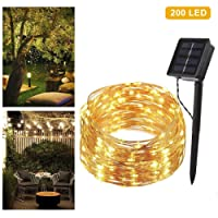 Solar String Lights, B-right 200 LED Copper Wire Fairy Lights, Auto On/Off Waterproof 72ft 20m 8 Twinkling Modes, Decorative Outdoor Lighting String Lights for Home, Gazebo, Patio, Lawn, Yard, Fence, Wedding, Party, Holiday, Festival Ornament [Energy Class A+++]
