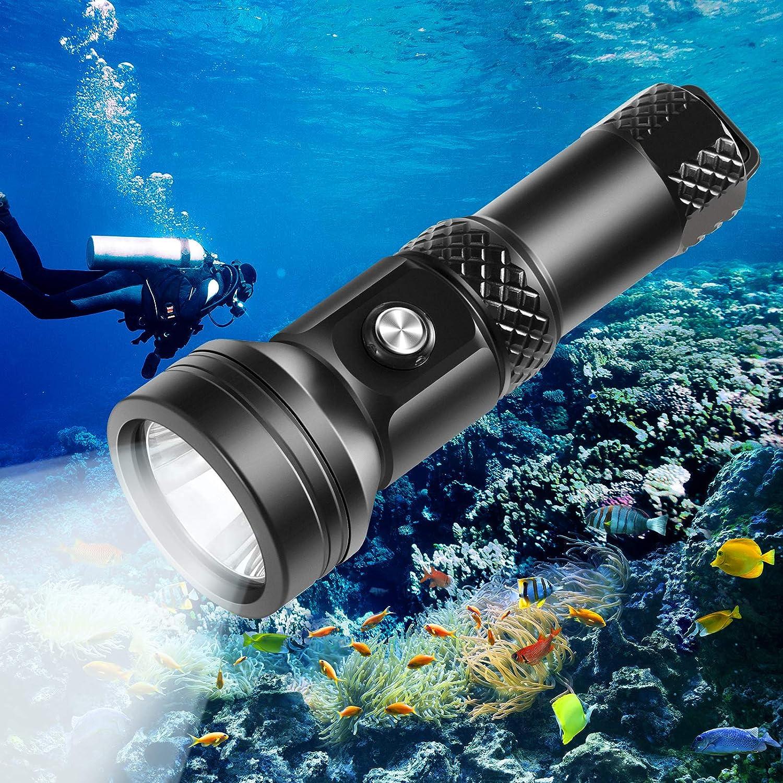 VOLADOR Lampe de Plong/ée 4000 lumens avec 1 * 26650 et Chargeur 150M /étanche sous leau Lampe de Poche sous-Marine CREE XHP 70 3 Luminosit/é Phare de Plong/ée avec Interrupteur /à Bouton